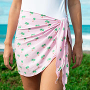 Pink palm tree sarong beach cover up by Kenny Flowers