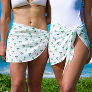 Cute bachelorette outfits for beach party matching sarongs by Kenny Flowers