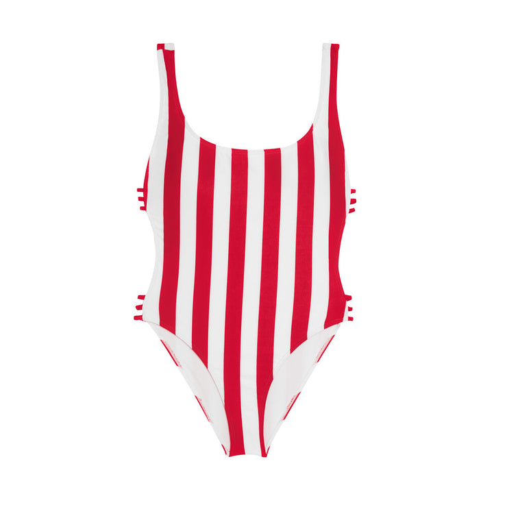 The Newport - Red Striped One Piece