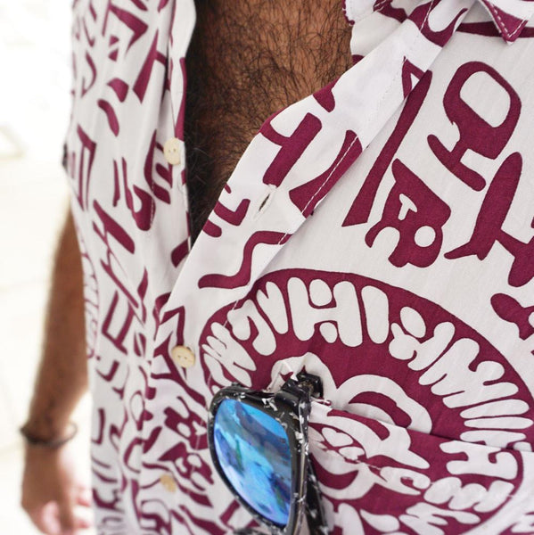 Kenny Flowers Shirt Temple of Bloom Maroon Close Up Sunglass Loop