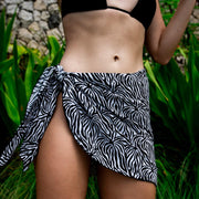 Floral zebra print short sarong cover up by Kenny Flowers