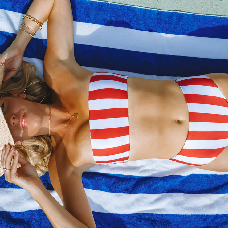 The Newport - Red Striped Bandeau Bikini Top