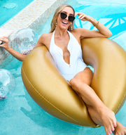 The Santorini - White One Piece - Gold Zipper