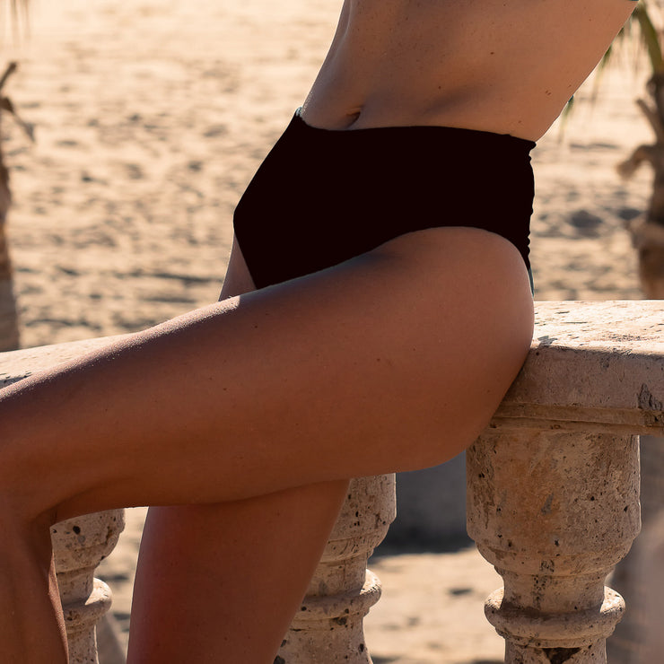 The Mykonos Soft Eco-Luxe Ribbed Black High Waist Bottom