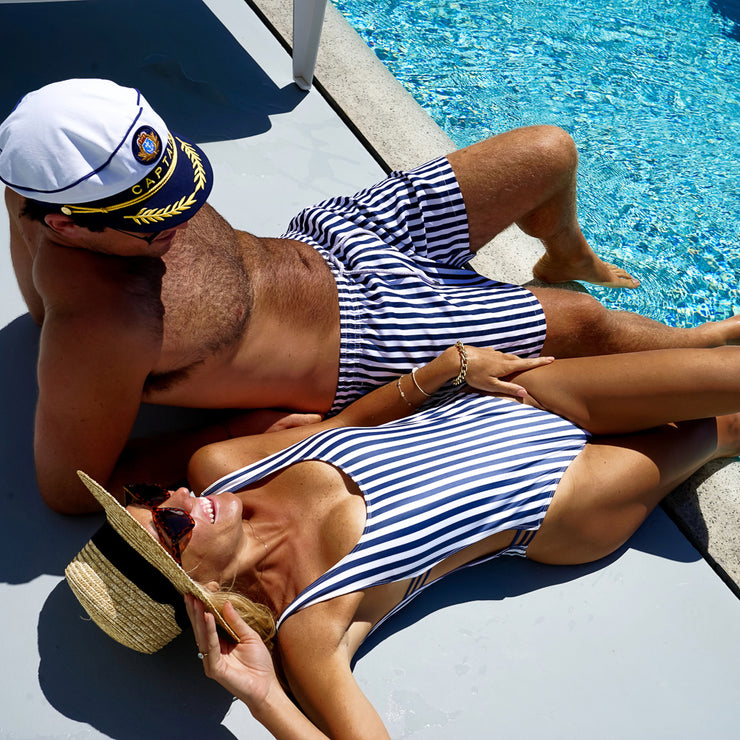 The Hamptons - Navy Striped One Piece