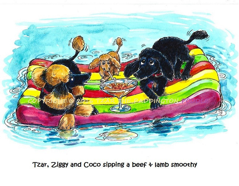 PRINT - from the Crocodile Encounter Collection - Tzar, Ziggy and Coco sipping a beef & lamb smoothy