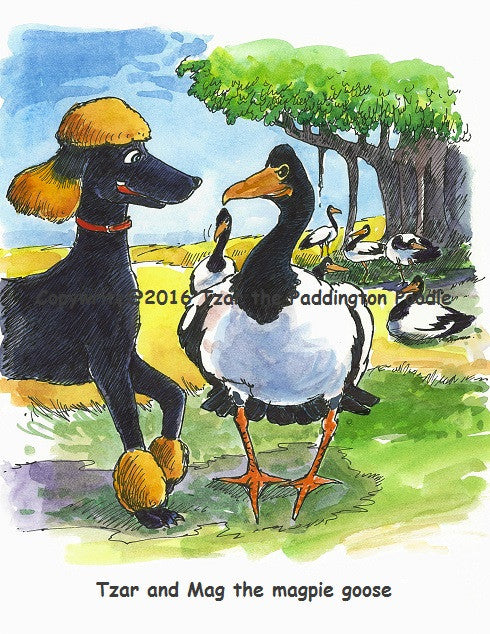 PRINT - from the Goanna Encounter Collection - Tzar and Mag the magpie goose