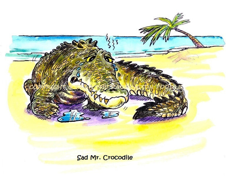 PRINT - from the Crocodile Encounter Collection - Sad Mr Crocodile