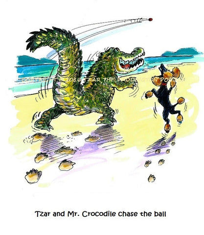 PRINT - from the Crocodile Encounter Collection - Tzar and Mr. Crocodile play together