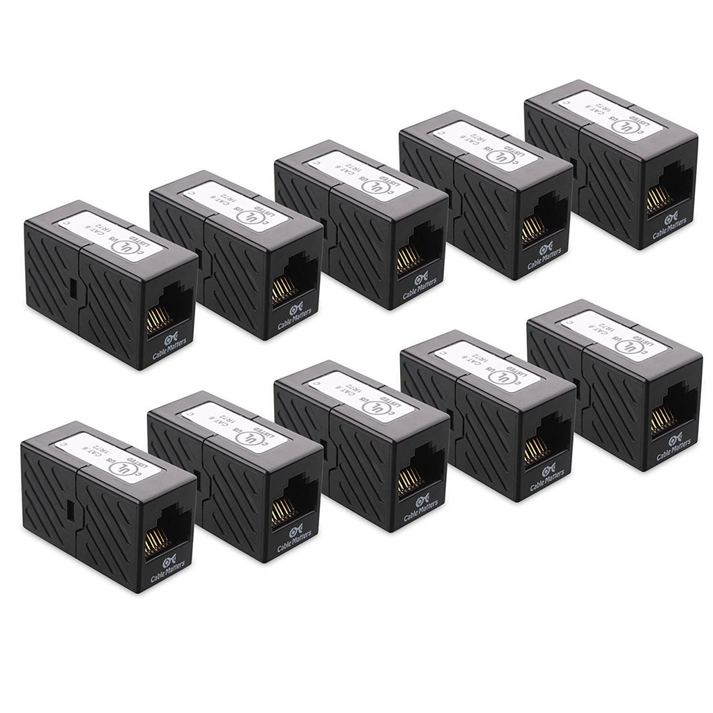 RJ45 Cat6 In-Line Coupler in Black - per piece