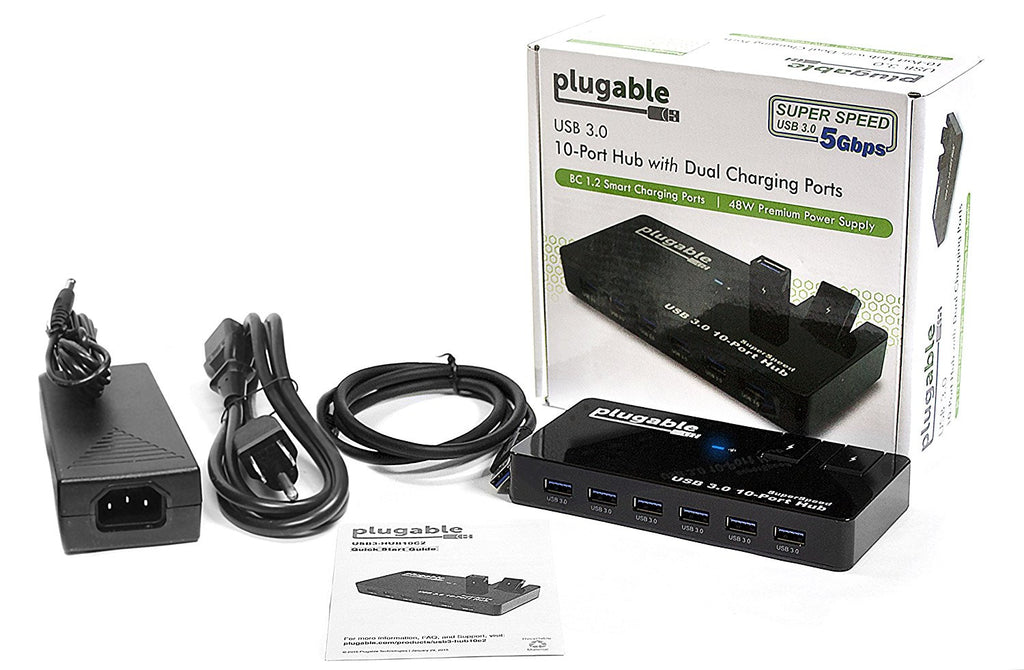 Plugable 10-Port USB 3.0 SuperSpeed Hub with 48W Power Adapter