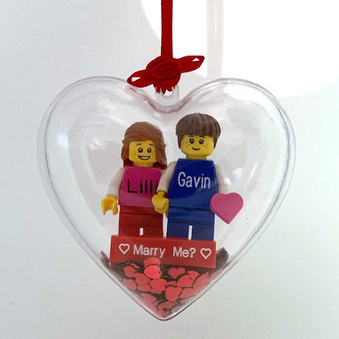 Heart Bauble with Personalised Mini Figs