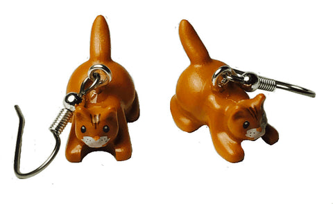 Brown Cat Earrings (crouching) made using up-cycled LEGO® pieces