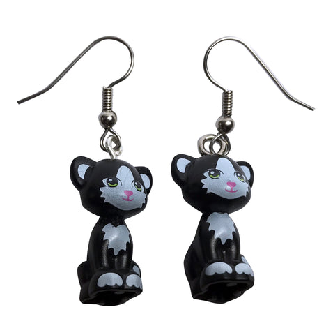 Sitting Cat Earrings (black and white) made using up-cycled LEGO® pieces