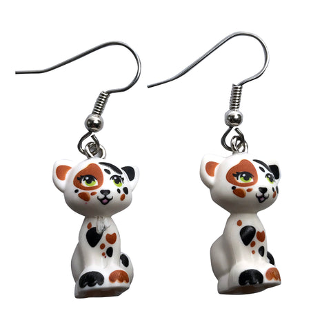 Sitting Cat Earrings (white,brown,black) made using up-cycled LEGO® pieces