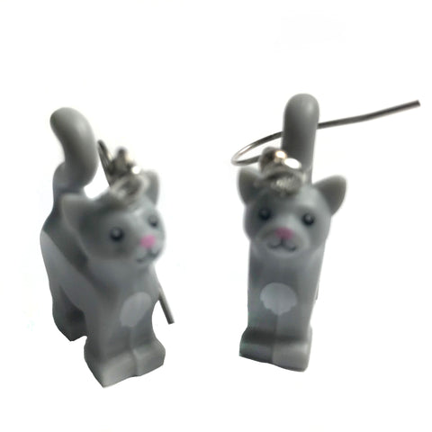 Standing Cat Earrings (Grey) made using up-cycled LEGO® pieces