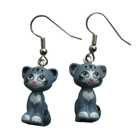 Sitting Cat Earrings (grey) made using up-cycled LEGO® pieces