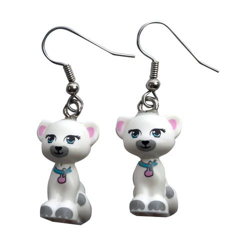 Cat Sitting Earrings (white) made using up-cycled LEGO® pieces