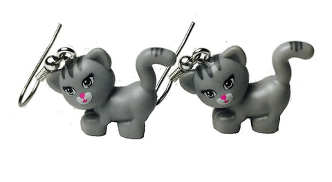 Cute Grey Cat Earrings made using up-cycled LEGO® pieces