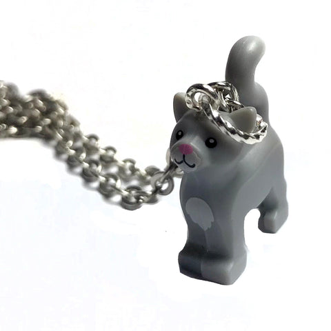 Standing Cat Necklace (Grey) made using up-cycled LEGO® pieces
