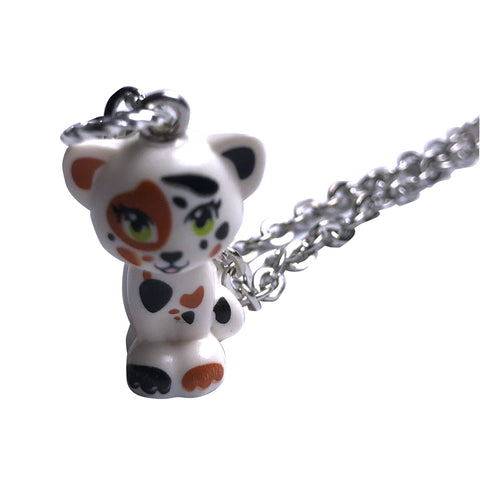 Cat Sitting Necklace (white,brown,black) made using up-cycled LEGO® pieces