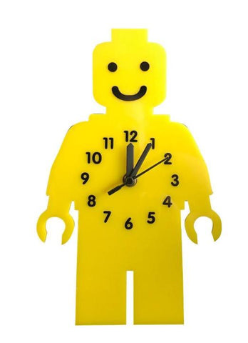 Lego Man Style Handmade Clock (Black Hands)