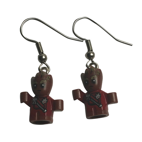 Baby Groot Earrings made using up-cycled LEGO® pieces