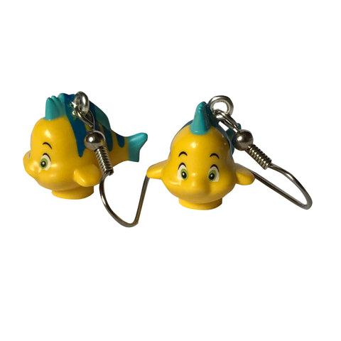 Flounder Earrings made using up-cycled LEGO® pieces