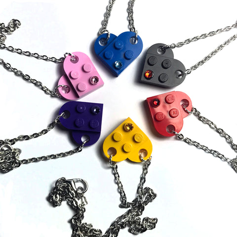 Heart Necklace made with up-cycled LEGO® pieces and Swarovski Crystal