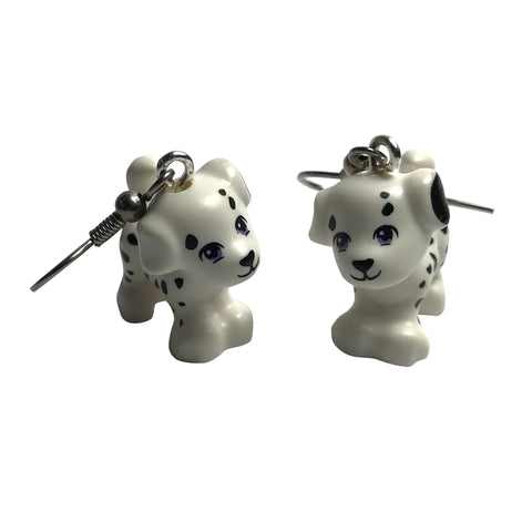 Dalmatian Earrings made using up-cycled LEGO® pieces