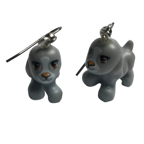Puppy Earrings (Grey) made using up-cycled LEGO® pieces