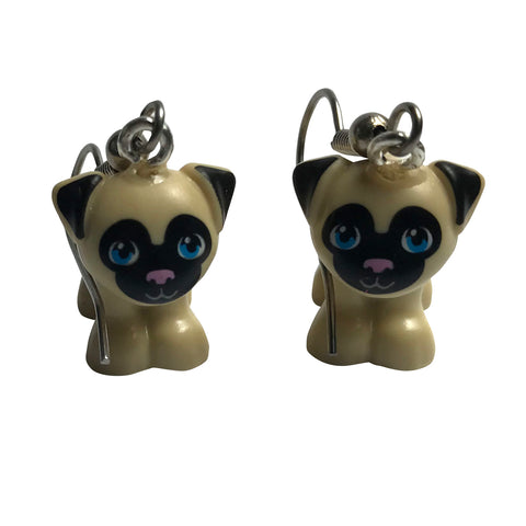 Pug Earrings made using up-cycled LEGO® pieces