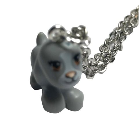 Puppy Necklace (Grey) made using up-cycled LEGO® pieces