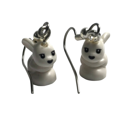 Baby Rabbit Earrings (white) made using up-cycled LEGO® pieces