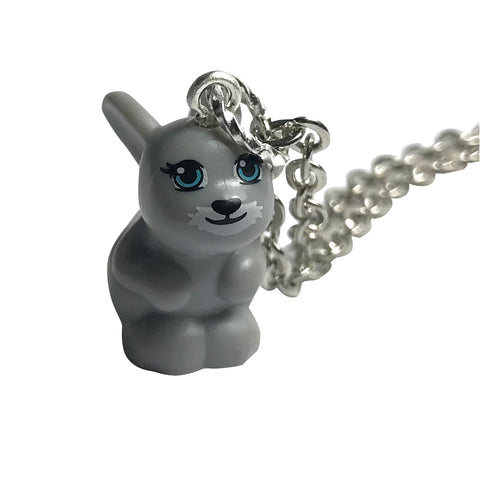 Rabbit Necklace (Large - grey) made using up-cycled LEGO® pieces