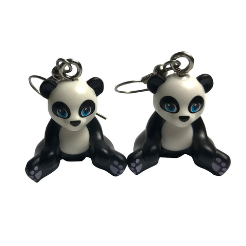 Panda Bear Earrings made using up-cycled LEGO® pieces