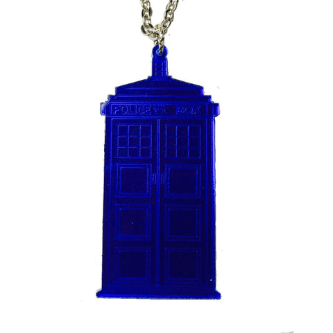 Dr Who Tardis Necklace (Dark Blue Large)