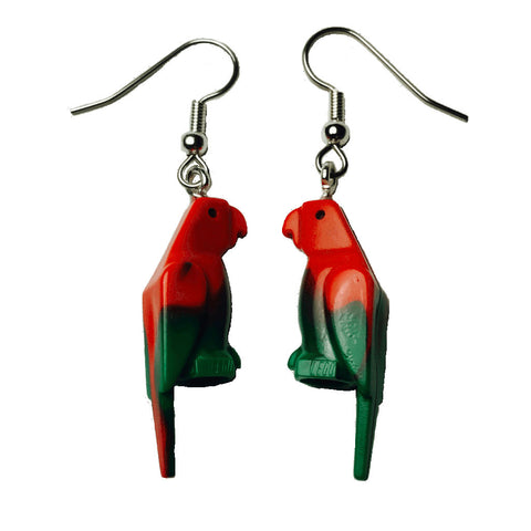 Parrot Earrings made using up-cycled LEGO® pieces