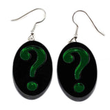 Riddler Black and Green Earrings