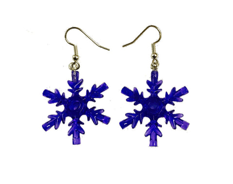 Snowflake Earrings (Purple) made using up-cycled LEGO® pieces