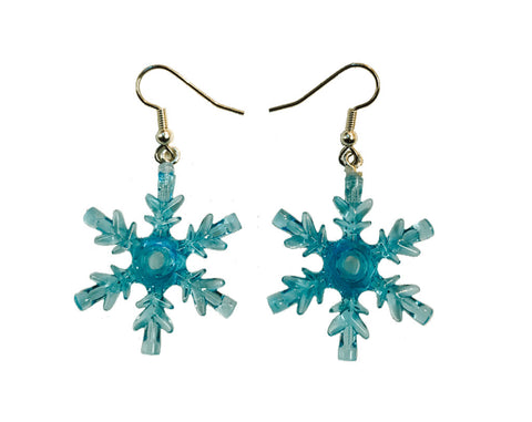 Snowflake Earrings (Turquoise) made using up-cycled LEGO® pieces