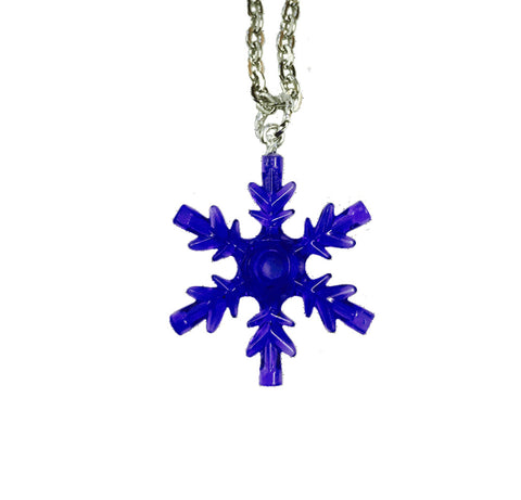 Snowflake Necklace (Purple) made using up-cycled LEGO® pieces