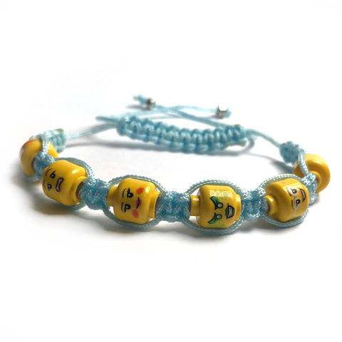 Shamballa Bracelet (Ladies' faces light blue) made using Up-cycled LEGO® pieces