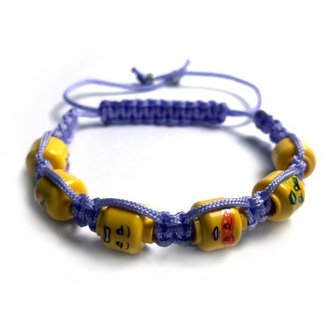 Ladies' Lego Head Summer Colours Shamballa Bracelet (lilac)