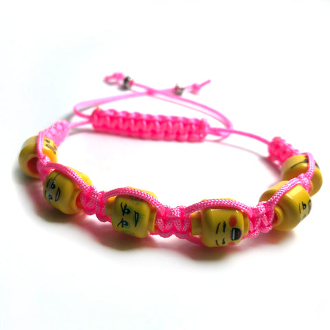 Ladies' Lego Head Summer Colours Shamballa Bracelet (pink)