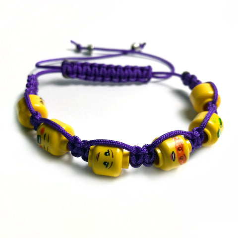 Ladies' Lego Head Summer Colours Shamballa Bracelet (purple)
