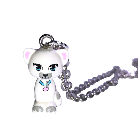 Cat Sitting Necklace (white) made using up-cycled LEGO® pieces