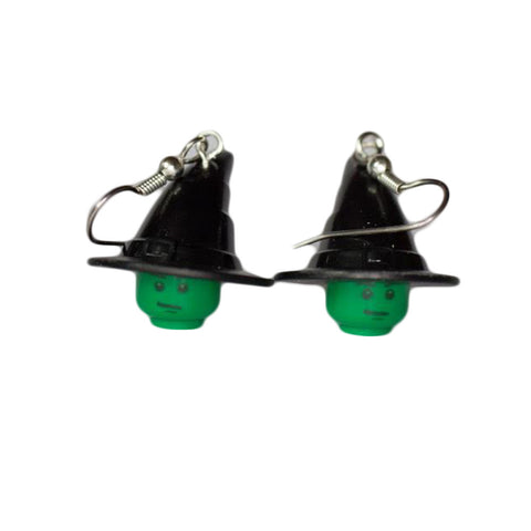 Green Witch Earrings made using up-cycled LEGO® pieces