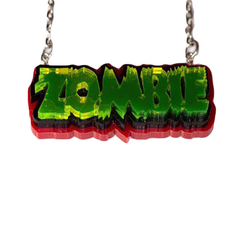 Zombie Necklace - Green on red