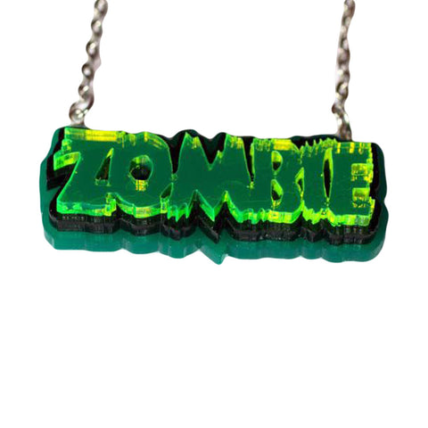 Zombie Necklace - Green on Green